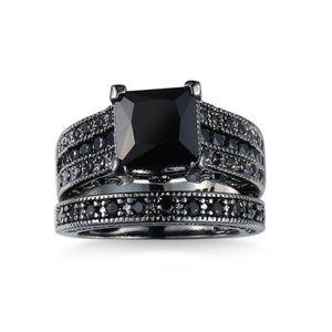 Black Diamond Ring 2 Piece Set Black Gold Plated 6